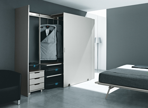 Action modular wardrobe system designed by Luciano Bertoncini