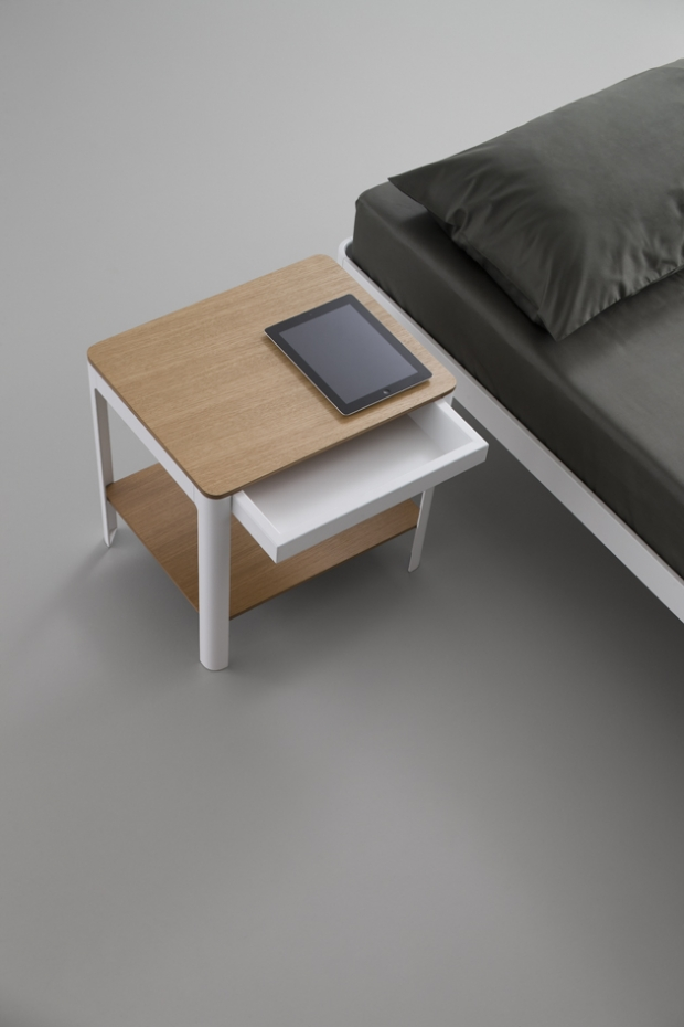 Bedside Two with walnut finishe. The Plane bed. Design by Luciano Bertoncini 2013