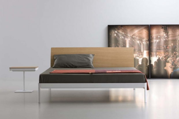 Plane bedframe with oak headboard. Designed by Luciano Bertoncini