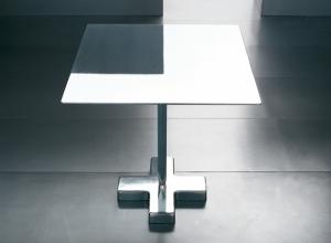 Harrys tavolino bistrot alluminio spazzolato, design Luciano Bertoncini